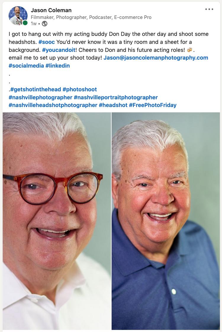 LinkedIn post Don Day Headshots